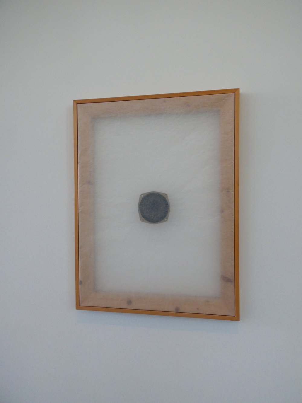 Alvin Lucier (1985): Sound on Paper. A loudspeaker animating paper in a frame.