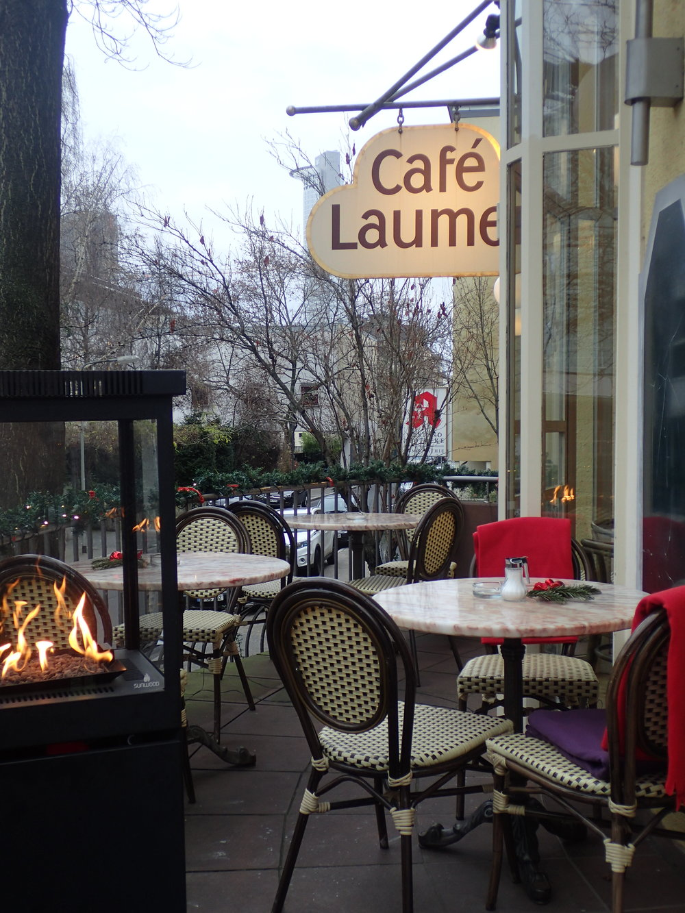 Café Laumer, Frankfurt Westend. You can still sit outside.