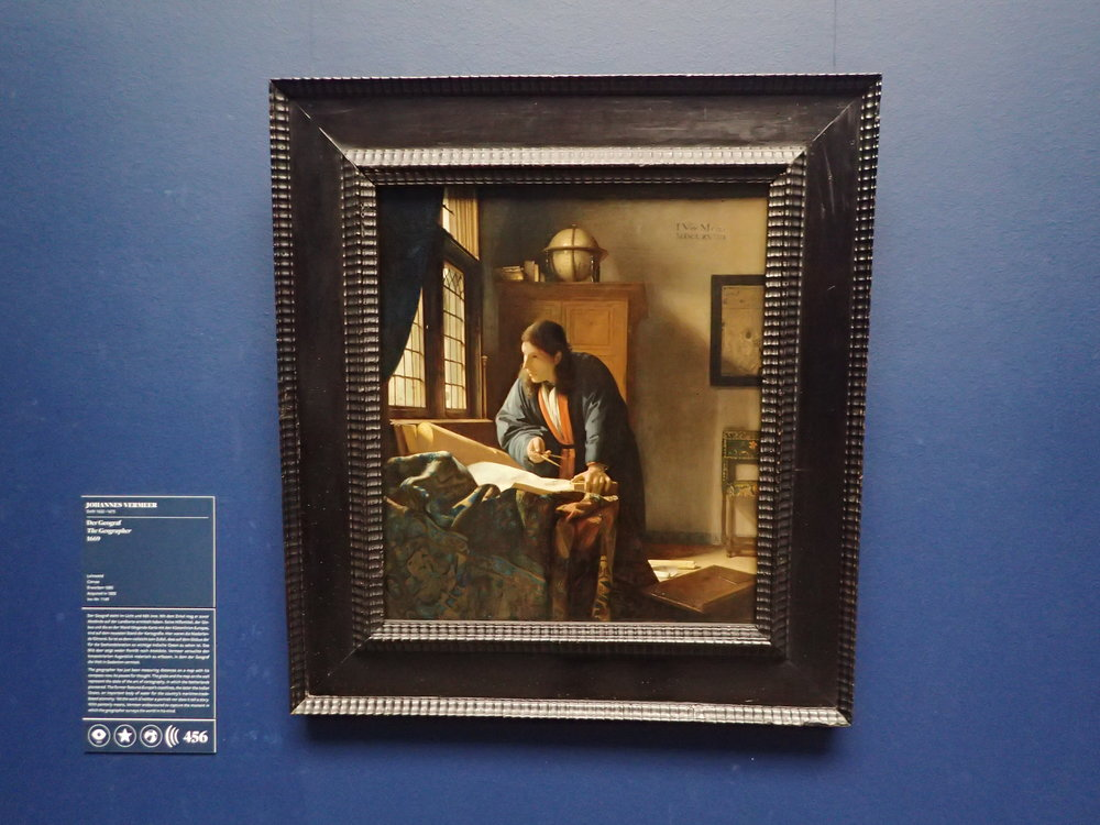 Vermeer's Geographer is one of my favorite paintings and it was not in Städel for quite a while, being lent to museums abroad. Now it's back with the Old Master section. Go up the staircase and turn right.