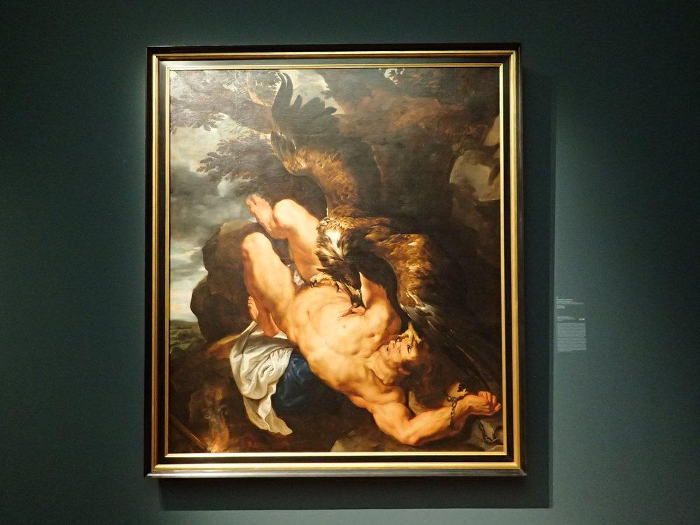 """Ruben's Prometheus painting  """"Prometheus  Bedecke deinen Himmel, Zeus, mit Wolkendunst und übe, dem Knaben gleich, der Disteln köpft, an Eichen dich und Bergeshöhn; musst mir meine Erde doch lassen stehn und meine Hütte, die du nicht gebaut, und meinen Herd, um dessen Glut du mich beneidest. Ich kenne nichts Ärmeres unter der Sonn' als euch, Götter! Ihr nähtet kümmerlich von Opfersteuern und Gebetshauch eure Majestät und darbet, wären nicht Kinder und Bettler hoffnungsvolle Toren. Da ich ein Kind war, nicht wußte, wo aus noch ein, kehrt' ich mein verirrtes Auge zur Sonne, als wenn drüber wär' ein Ohr, zu hören meine Klage, ein Herz wie meins, sich des Bedrängten zu erbarmen. Wer half mir wider der Titanen Übermut? Wer rettete vom Tode mich, von Sklaverei? Hast du nicht alles selbst vollendet, heilig glühend Herz? Und glühtest jung und gut, betrogen, Rettungsdank dem Schlafenden da droben? Ich dich ehren? Wofür? Hast du die Schmerzen gelindert je des Beladenen? Hast du die Tränen gestillet je des Geängsteten? Hat nicht mich zum Manne geschmiedet die allmächtige Zeit und das ewige Schicksal, meine Herrn und deine? Wähntest du etwa, ich sollte das Leben hassen, in Wüsten fliehen, weil nicht alle Blütenträume reiften? Hier sitz' ich, forme Menschen nach meinem Bilde, ein Geschlecht, das mir gleich sei, zu leiden, zu weinen, zu genießen und zu freuen sich — und dein nicht zu achten, wie ich!""""  Johann Wolfgang Goethe"""