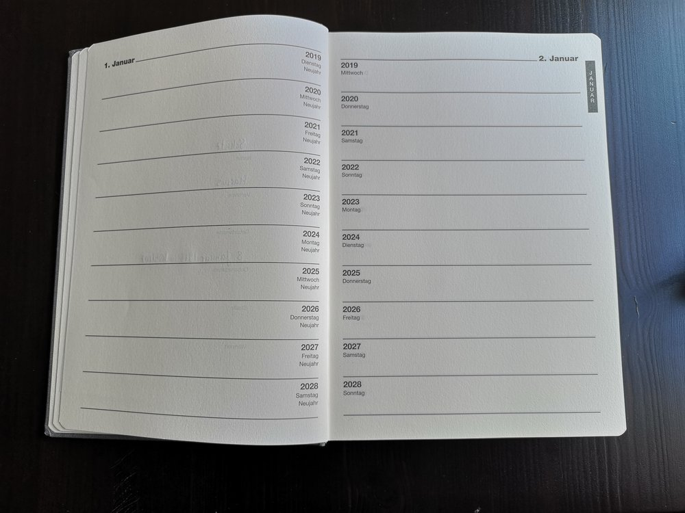 My new tabular diary does give space for 3 lines per day and 10 years to come. I got mine from Manufactum in Germany.