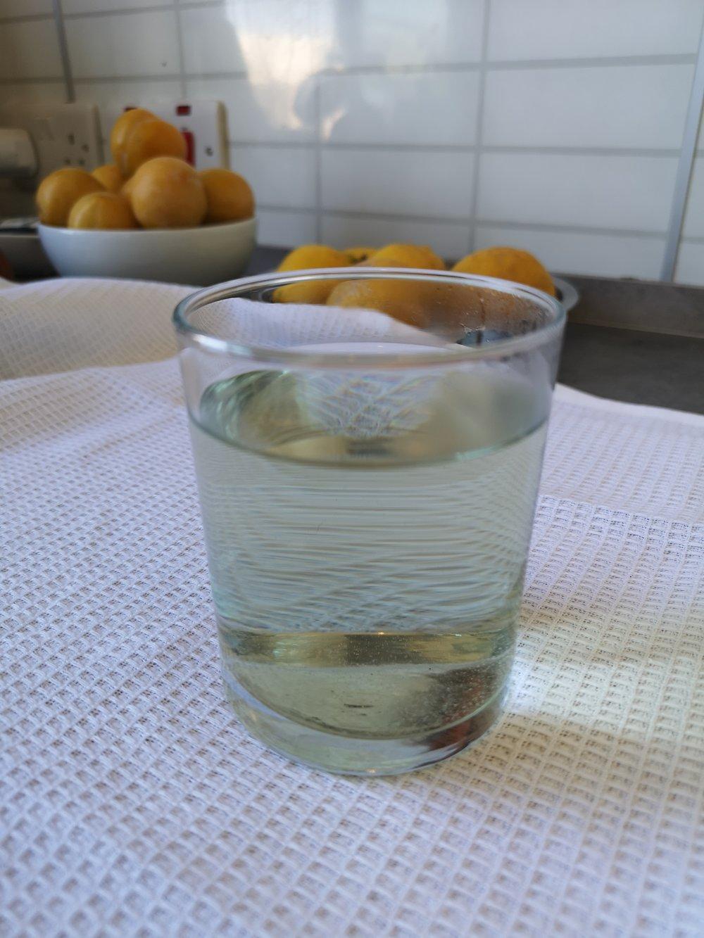 Malva tea made of fresh flowers: before adding lemon