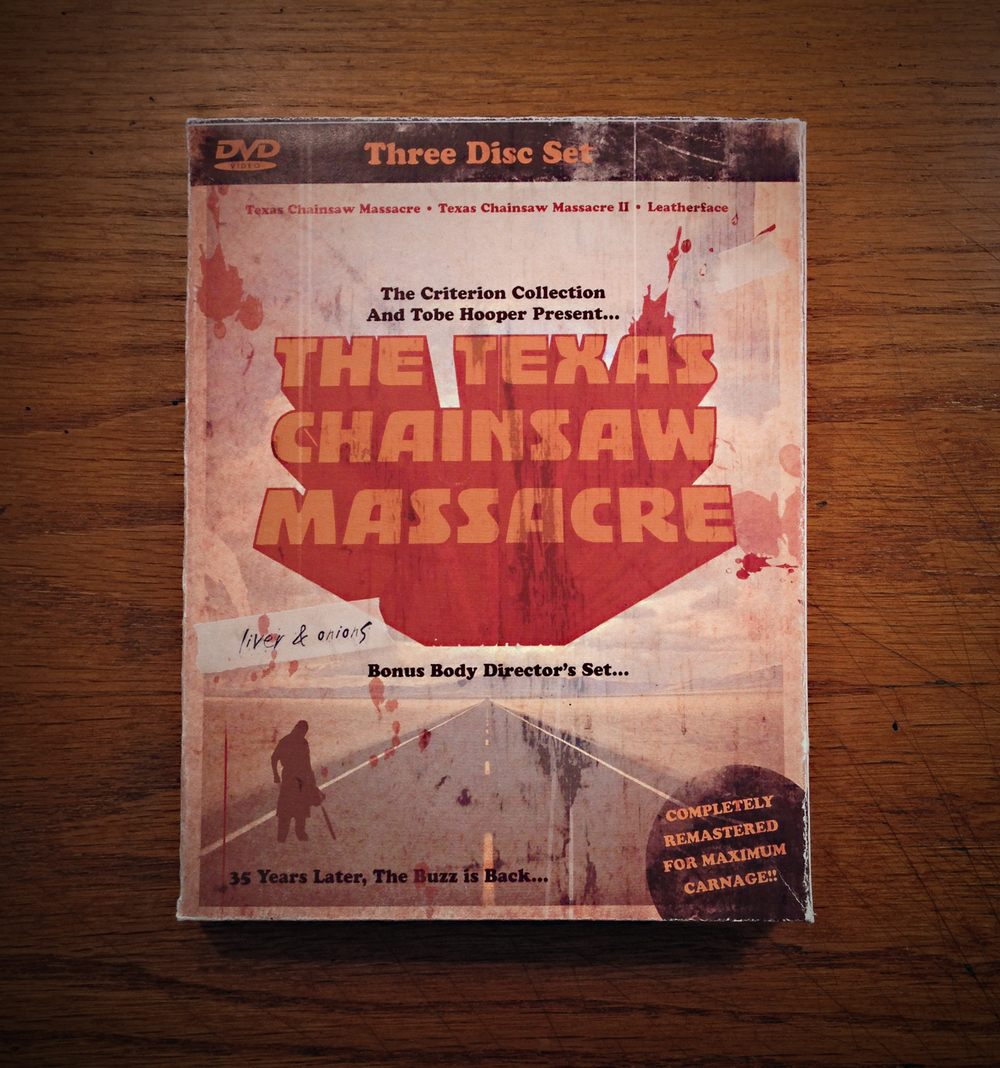 The Texas Chainsaw Massacre: 3-Disc Box-Set  [Image 1/3]  Client: Personal  Designed with the horror-geek in mind, this 3-disc box-set contains remastered versions of the original  Texas Chainsaw Massacre, Texas Chainsaw Massacre II  and  Leatherface . The front cover seen here opens to reveal the collapsable inner-design, with fold-out disc containment sleeves and a collection of T.C.M. inspired artwork.