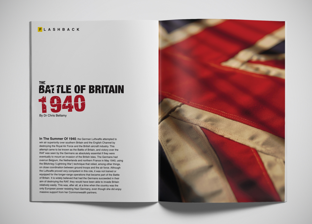 Battle of Britain Magazine Layout  [Image 1/3]  Client: Personal  For this design, we created a layout concept for a feature article on the historic Battle of Britain, revisioned as a 'Flashback' article in National Geographic. We borrowed copy and statistics from a number of different sources to render supporting copy & graphics.