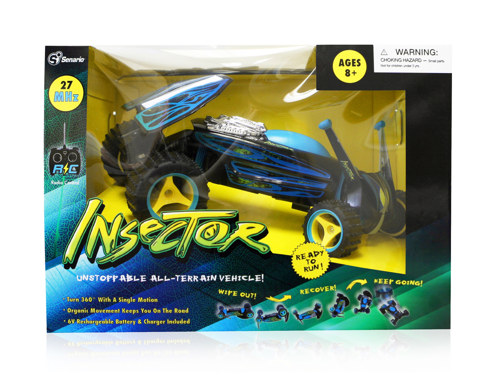 Insector RC Package Design  [Image 1/1]  Client: Senario LLC  We worked with the Woodstock, IL based toy company Senario LLC on this project to develop packaging for their  Insector  line of radio-controlled cars. We used existing  Insector visual  elements & guidelines to provide a fresh update on the brand's previous look.