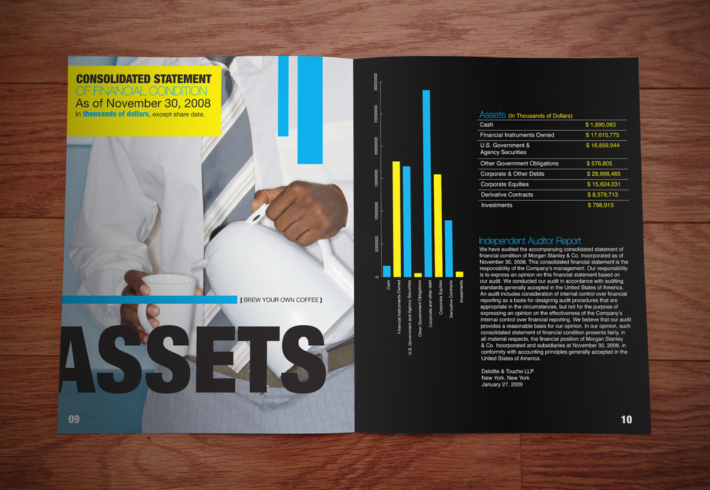 Morgan Stanley Annual Report  [Image 1/2]  Client: Personal  This was a personal project which involved a redesign concept of the Morgan Stanley annual report. Amongst a visual theme of thriftiness, we borrowed copy & numbers from the actual report to render supporting graphics and present our spin on the publication.