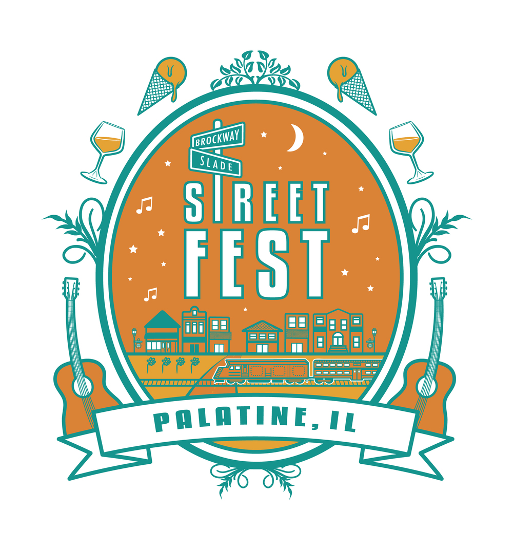 Palatine StreetFest Logo  [Image 1/3]  Client: The City of Palatine, IL  / Duff Entertainment  When the City of Palatine wanted to give their annual  StreetFest  a fresh look, they approached us about creating a new logo for the event. A summer celebration that boasts the finest local food & drinks, in addition to a variety of live music,  Palatine Streetfest  spans 3 days in late August and is attended by nearly 50,000 people. Last Spring, we worked with the City of Palatine and Duff Entertainment to create an overhaul on the event's branding. The new logo blends festival components with signature elements of Palatine's downtown landscape to illustrate a serene evening out on the town.