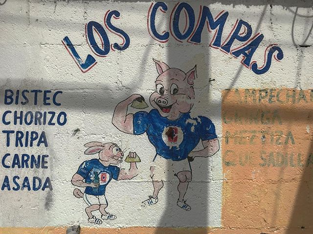 This is so dank.  #puerco #carnitas #cochinitapibil #chicharrones #pig#handpainted #sign #cerdo #lechon #mexico #playadelcarmen #cancun #quintanaroo #yae #blessed