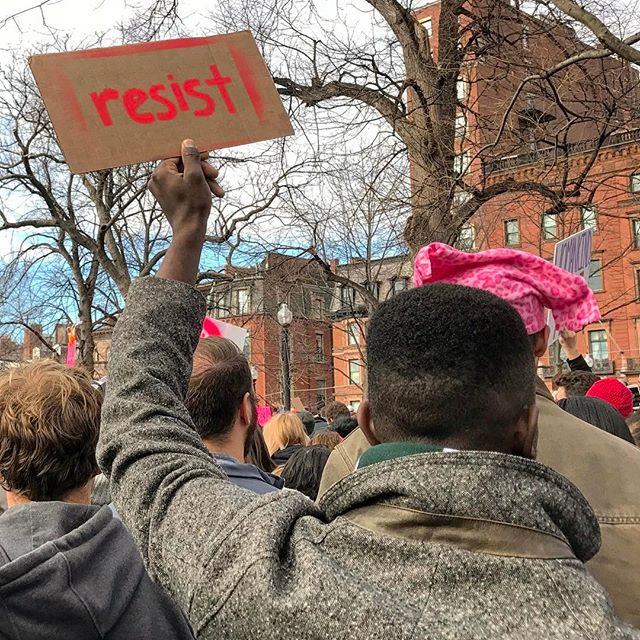 Resist. #solidarity #unity #defeattrump #killfascists #letfreedomring #fight #protest #reclaimamerica #womensmarch #womensmarchboston #boston #yae #blessed #lovetrumpshate