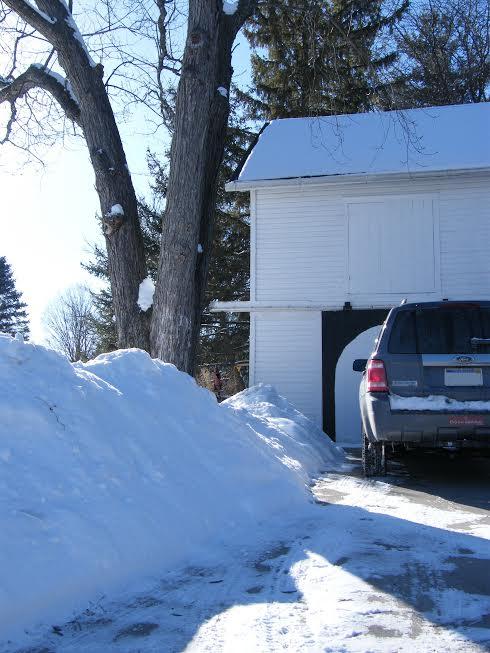 snowdrifts, truck, barn/studio