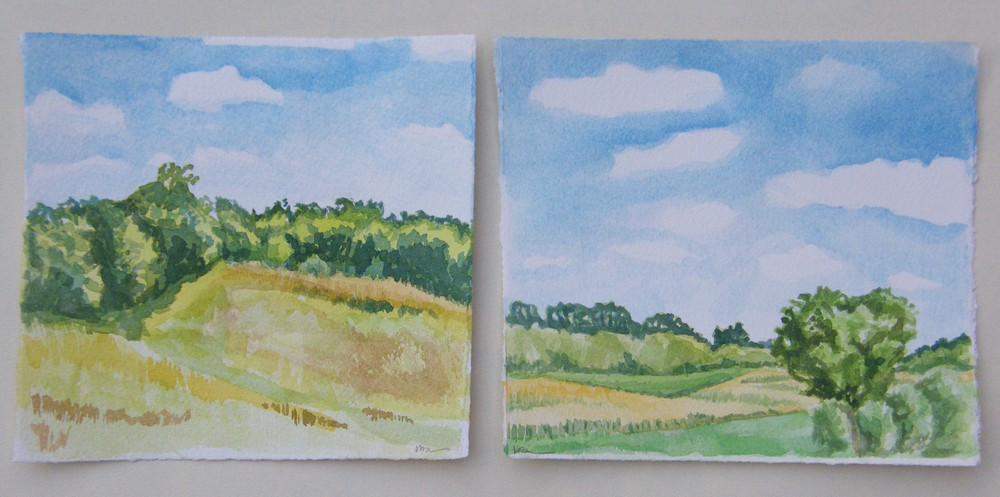"Looking West, 6 x 6"" left, Looking South,6 x 7"" right"