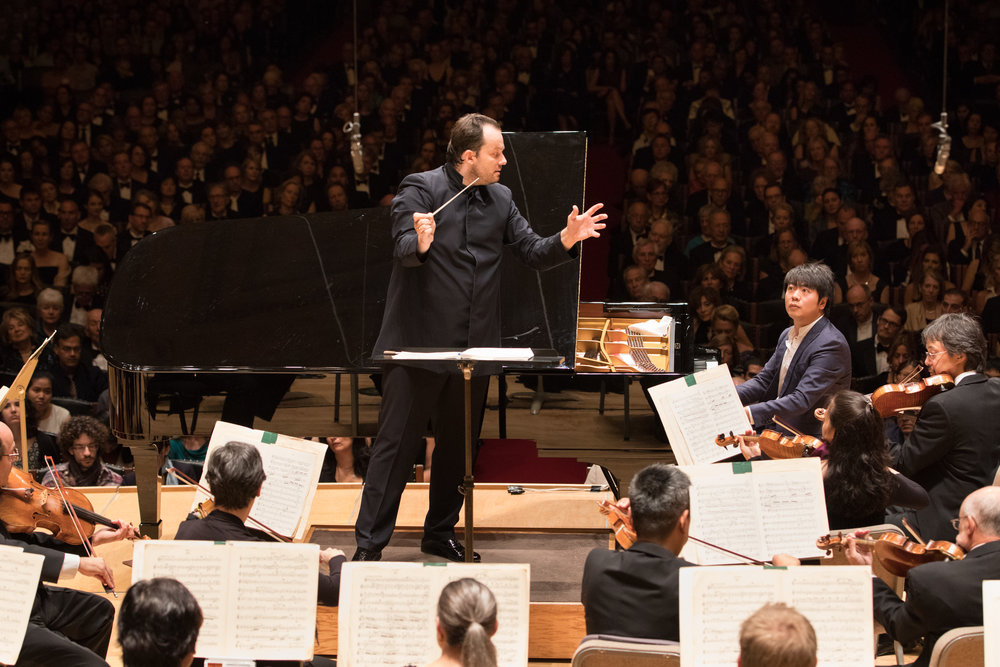Andris Nelsons leads the Boston Symphony Orchestra with soloist Lang Lang, opening night of the 2016 season. Michael Blanchard photo