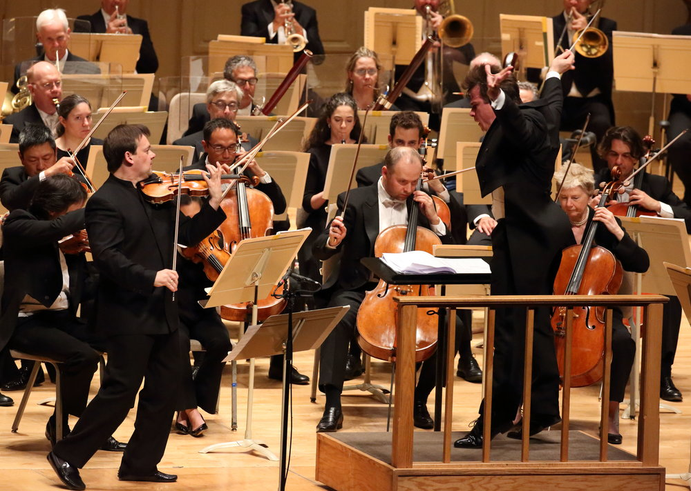Jakub Hrusa conducts the Boston Symphony Orchestra and  soloist   Frank Peter Zimmermann , Oct. 13, 2016. Hilary Scott photograph.