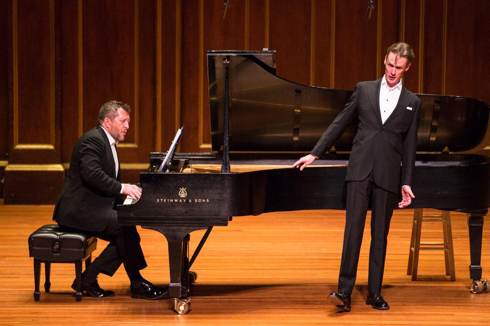 Tenor Ian Bostridge, with pianist Thomas Adès, sings Winterreise at Jordan Hall, 28 Oct. 2016. Robert Torres photograph.