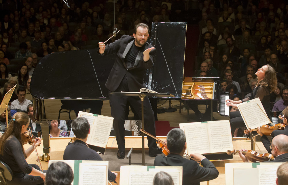Andris Nelsons conducts the Boston Symphony Orchestra, with soloist Hélène Grimaud. Nov. 8, 2016. Winslow Townson photograph.