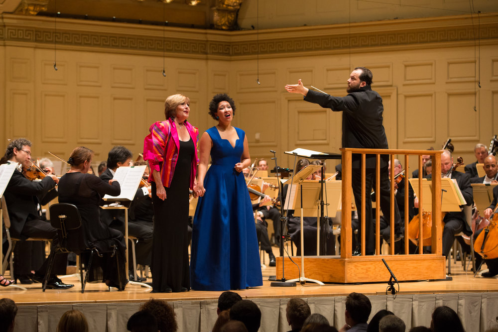 Frederica von Stade and Julia Bullock with Boston Symphony Orchestra's music director Andris Nelsons at the BSO's opening night, Friday, Sept. 22. Michael Blanchard photograph