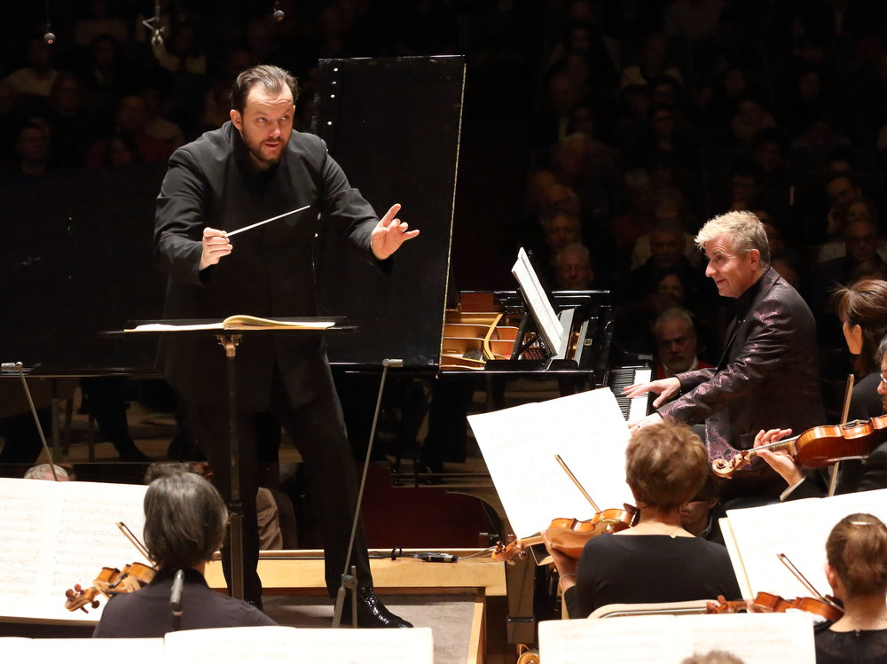 Andris Nelsons conducts the Boston Symphony Orchestra with soloist Jean-Yves Thibaudet on Thursday, March 22, 2018 at Symphony Hall. Hilary Scott photograph