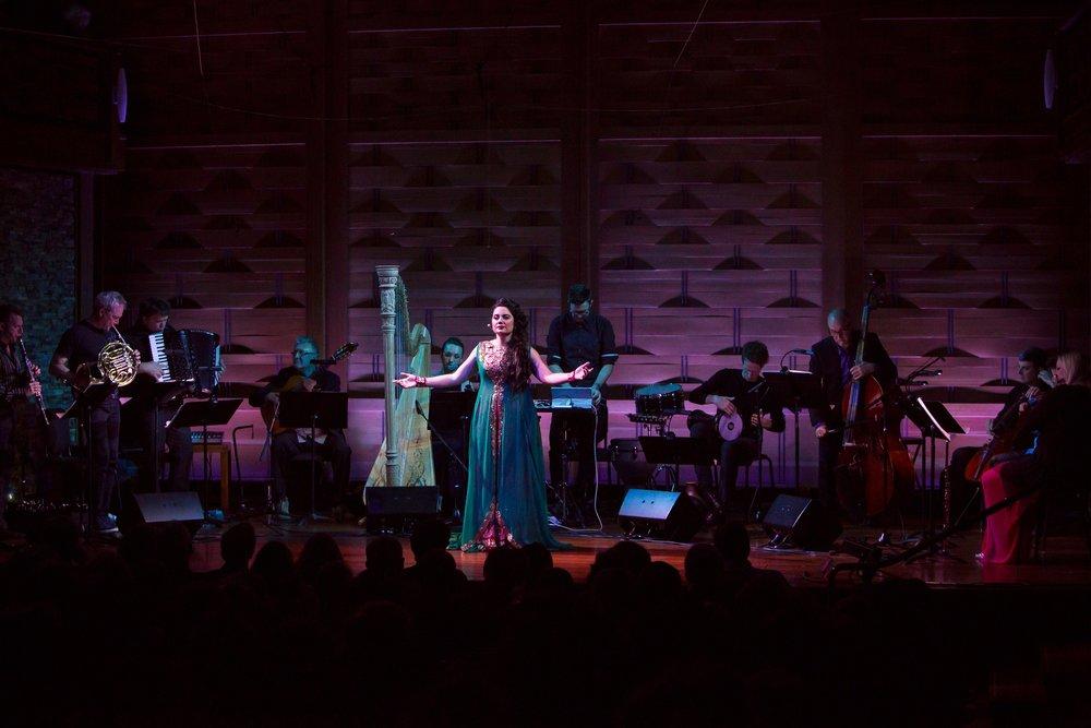 "Miriam Khalil, in Osvaldo Golijov's ""Ayre,"" Friday, June 15 at the Rockport Chamber Music Festival. Jon Tadiello photograph"
