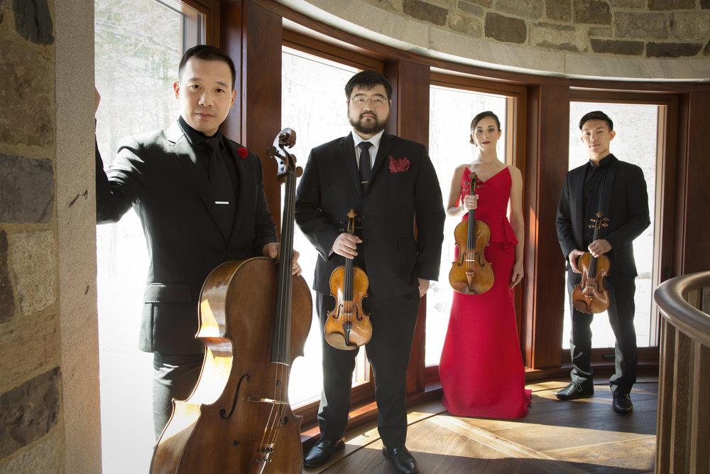 Parker Quartet, l to r: Kee-Hyun Kim, Ken Hamao, Jessica Bodner, Daniel Chong. Luke Ratray photograph