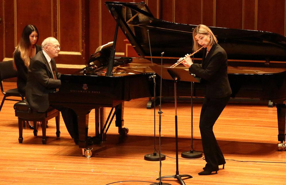 Pianist Gilbert Kalish and flutist Elizabeth Rowe perform John Harbison's Flute Duo at Jordan Hall on Jan. 13.
