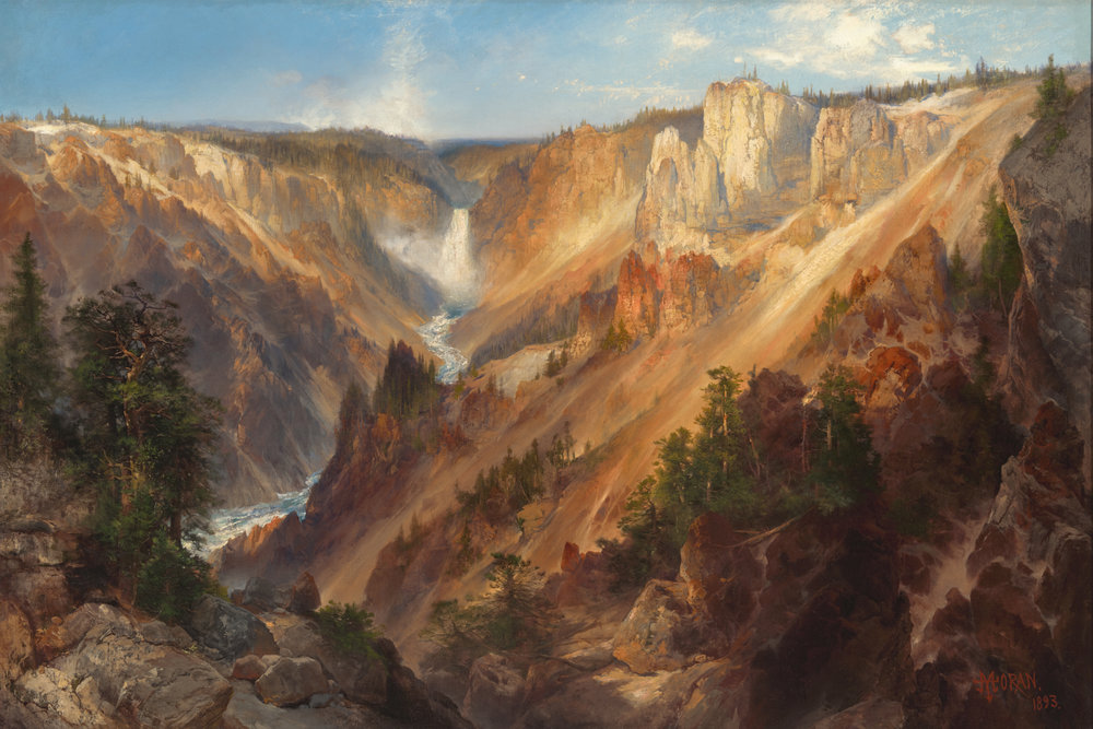 Thomas Moran, 1837-1926,  Lower Falls, Yellowstone Park , 1893. Oil on canvas.
