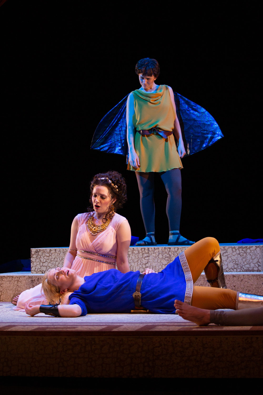 "Erica Schuller as Cupid, Mireille Asselin as Elena, and Meghan Lindsay as Paride in Odyssey Opera's ""Paride ed Elena."" Kathy Wittman photograph"
