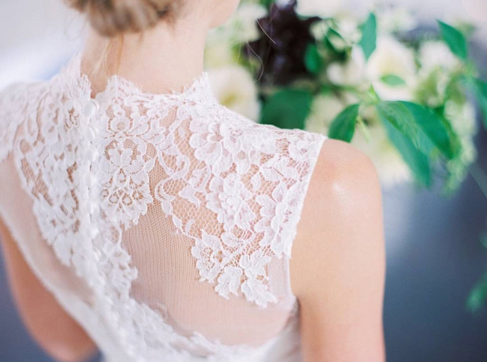 Sheer Lace Neckline, Covered Back Gown
