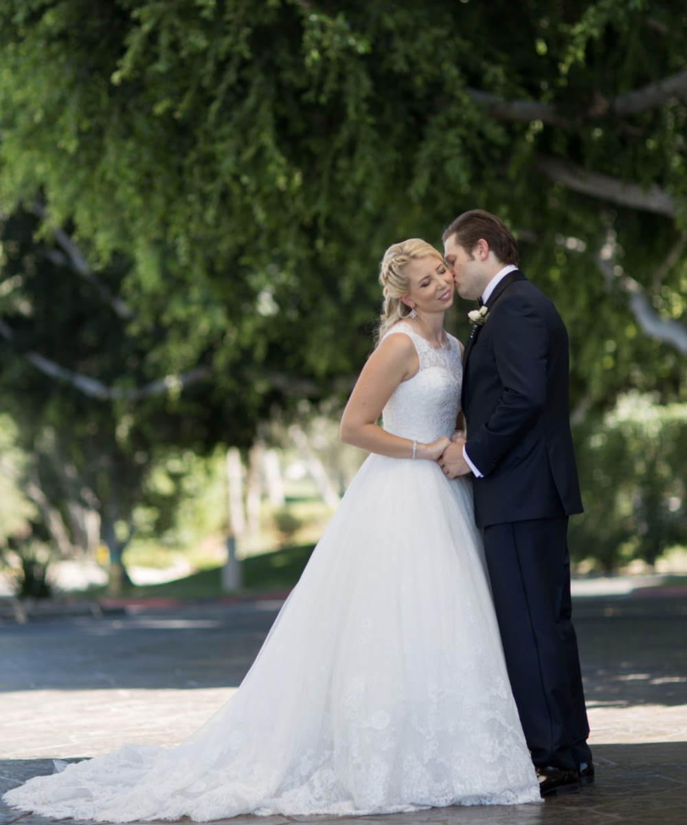 Real Bride: Bettina - A high neck beaded lace ball gown (Elvet Collection: Dress - Meg)