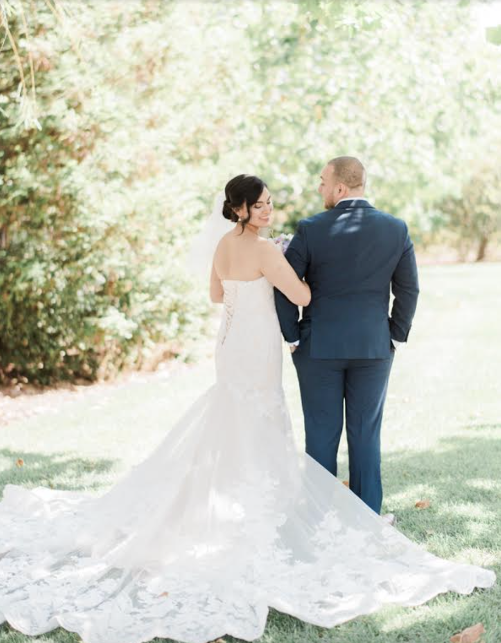 Real Bride: Juana (Dress: Juana, mermaid, strapless, outdoor wedding)