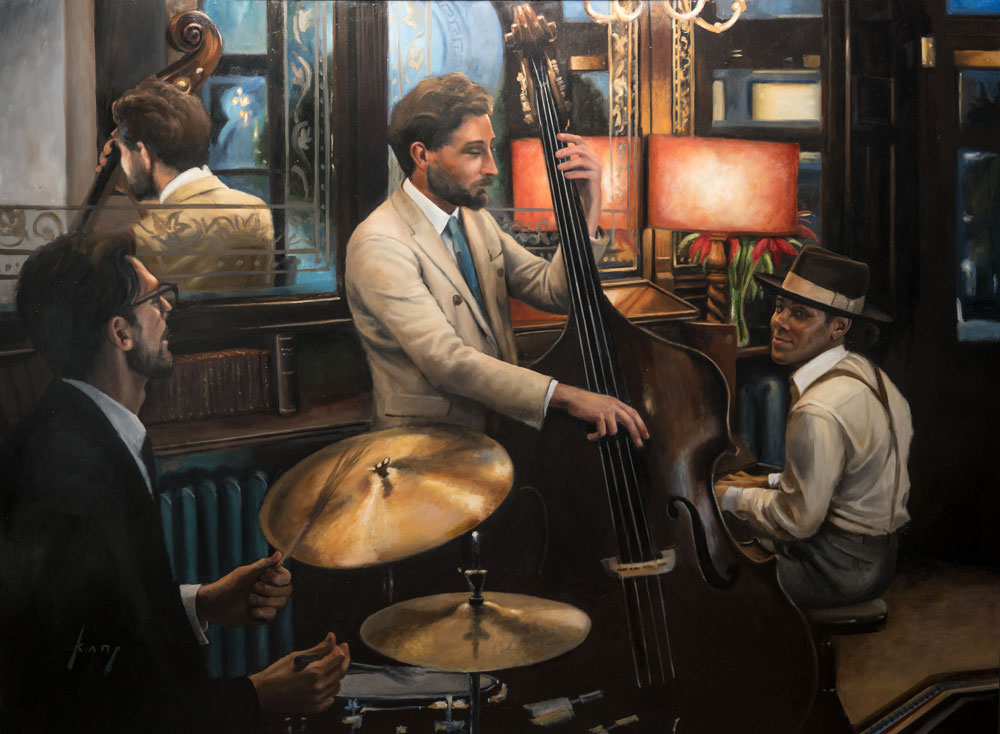 Inspired Lives - This was a series of 6 paintings featuring the jazz player/songwriter Reuben James and his band. The paintings were shown on 12th April 2018 at Clarendon Fine Art, Mayfair. Click image to see the series.
