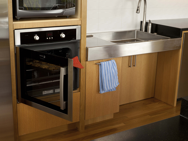 Here is an example of kitchen appliances created specially for a person in a wheelchair.