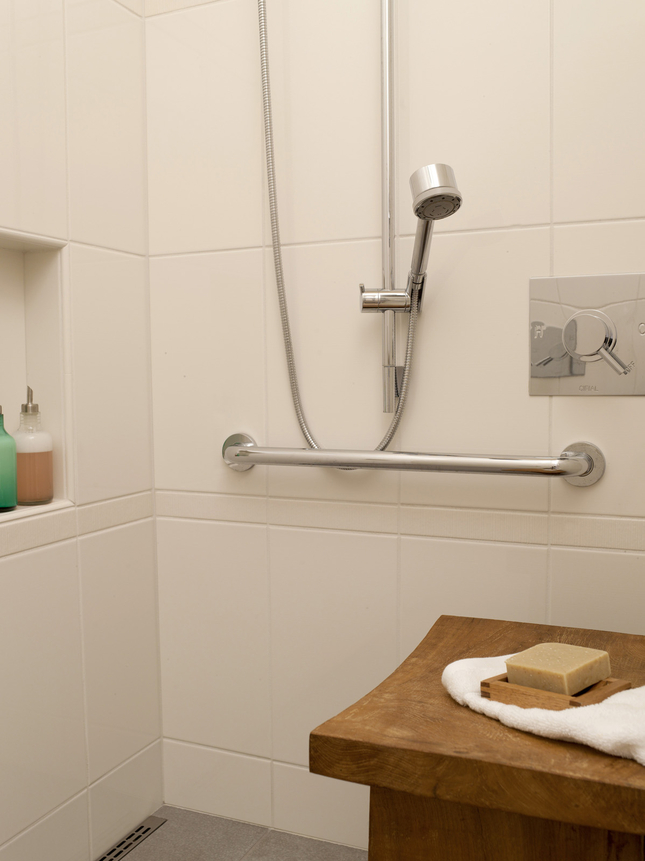Here is an example of a bathroom that caters to people in wheel chairs.
