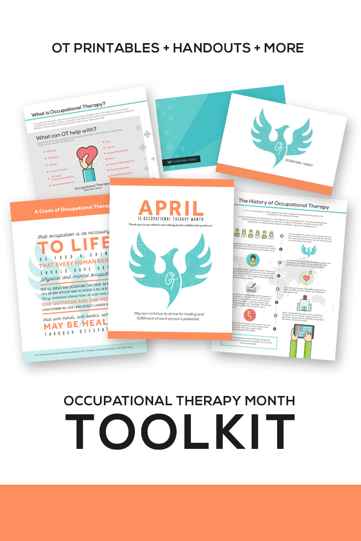 "Are you ready for Occupational Therapy Month in April? This OT Month Toolkits contains everything you needs to jumpstart your celebration, including a ""What is OT?"" handout, a history of OT handout, and pin-ups for your OT department office."