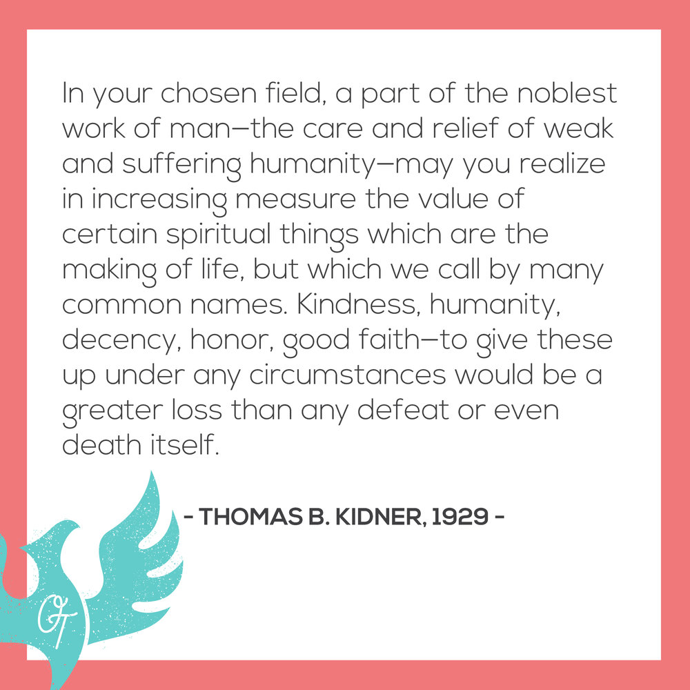 An excerpt from an OT graduation speech by Thomas Kidner one of the founders of occupational therapy.