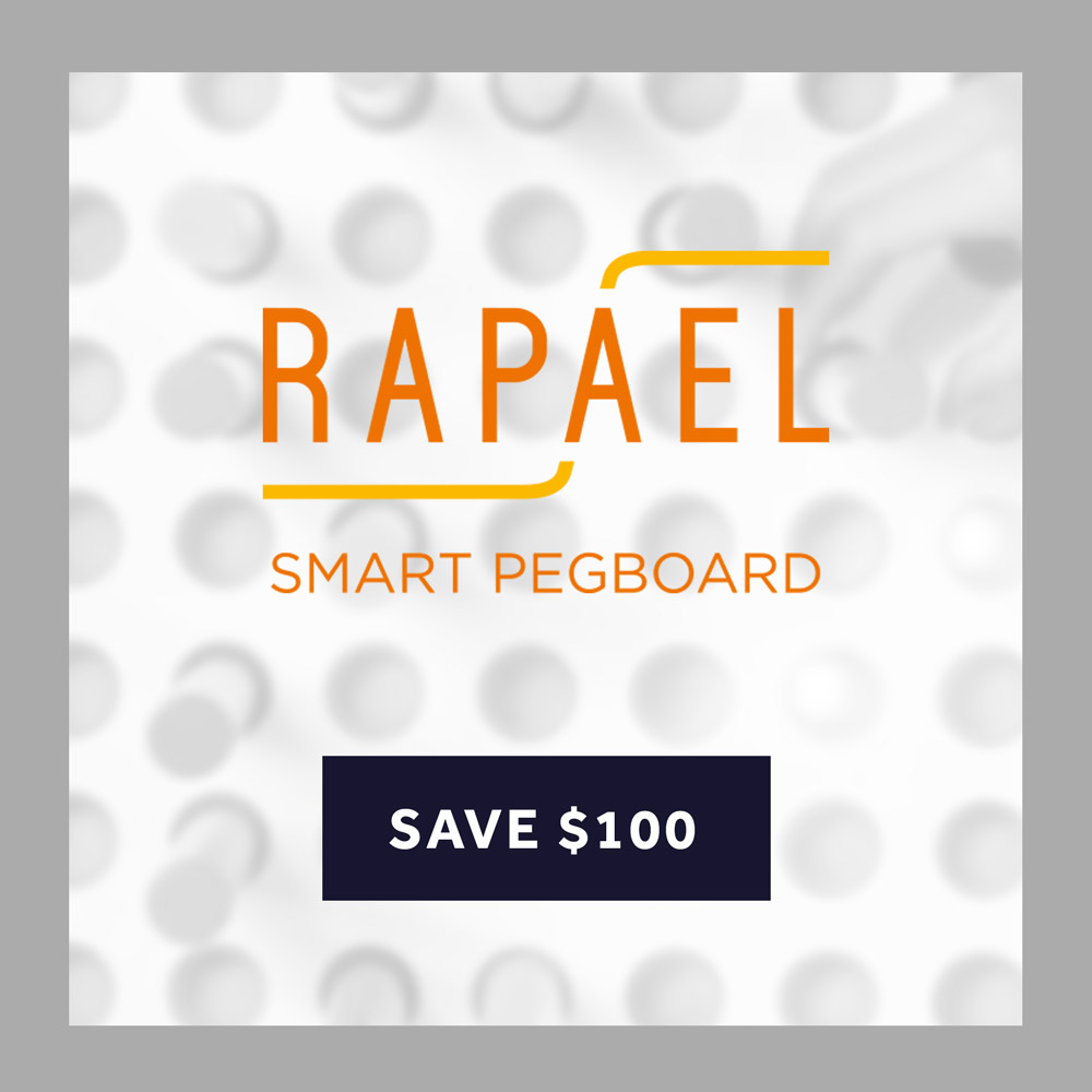 Save $100 on the Rapael Smartpegboard!