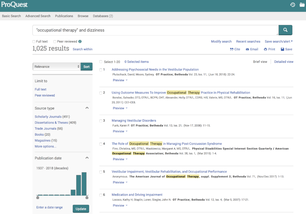 An example of how ProQuest works.