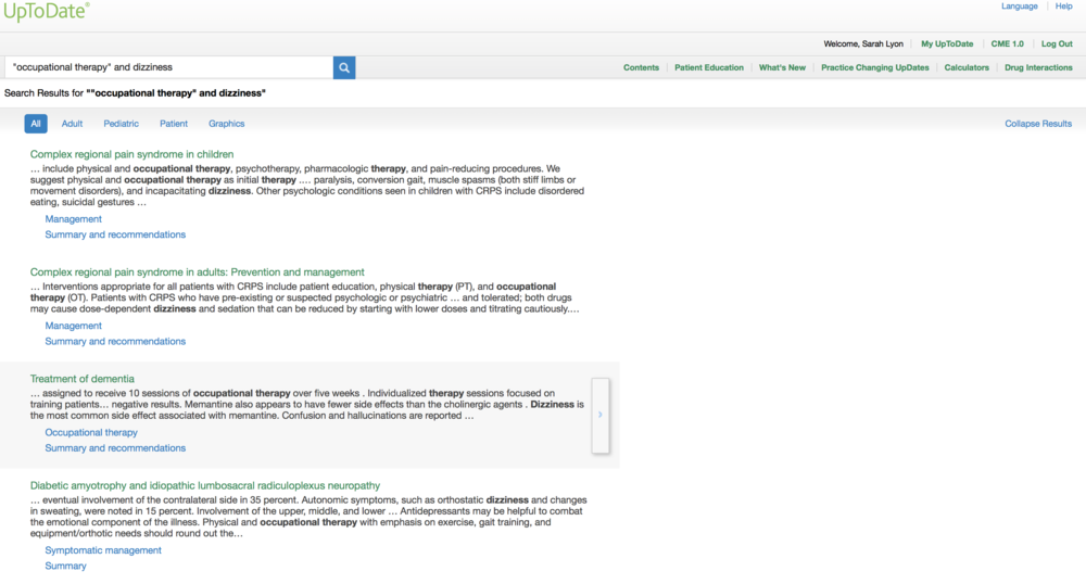 An example of occupational therapy research on UpToDate.