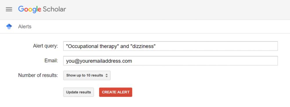 An example of setting up an alert on Google Scholar.