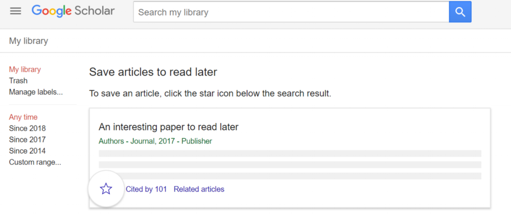 An example about saving articles to your library on Google Scholar.
