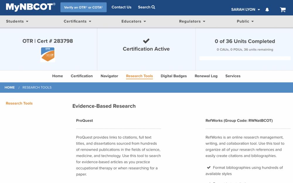Sample OT research in ProQuest.