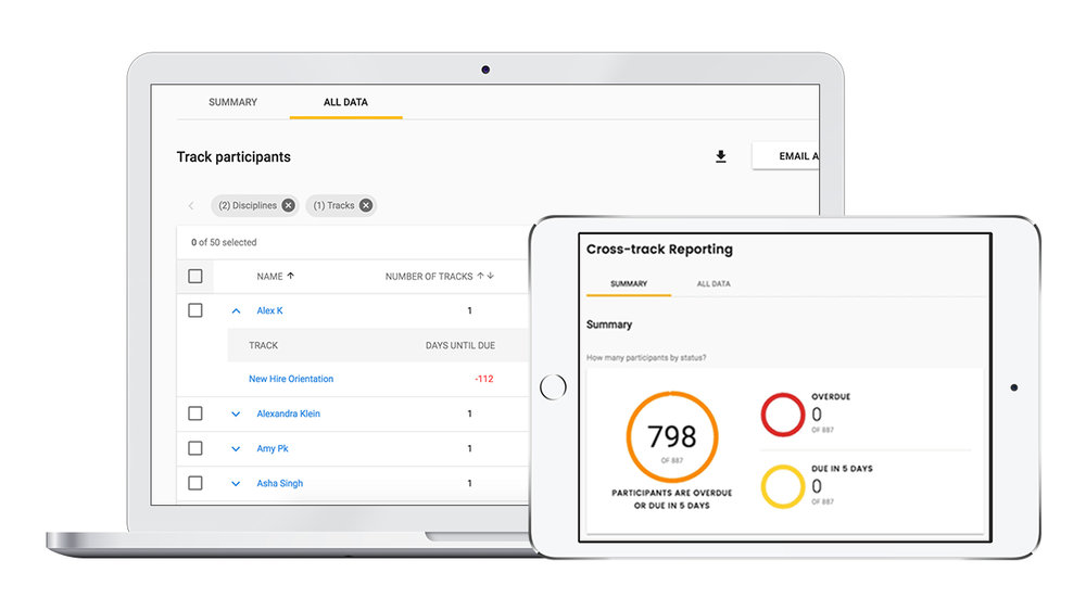 Example of MedBridge's Enterprise Solution Learning management software. Easily track whether your students or employees have completed their courses.
