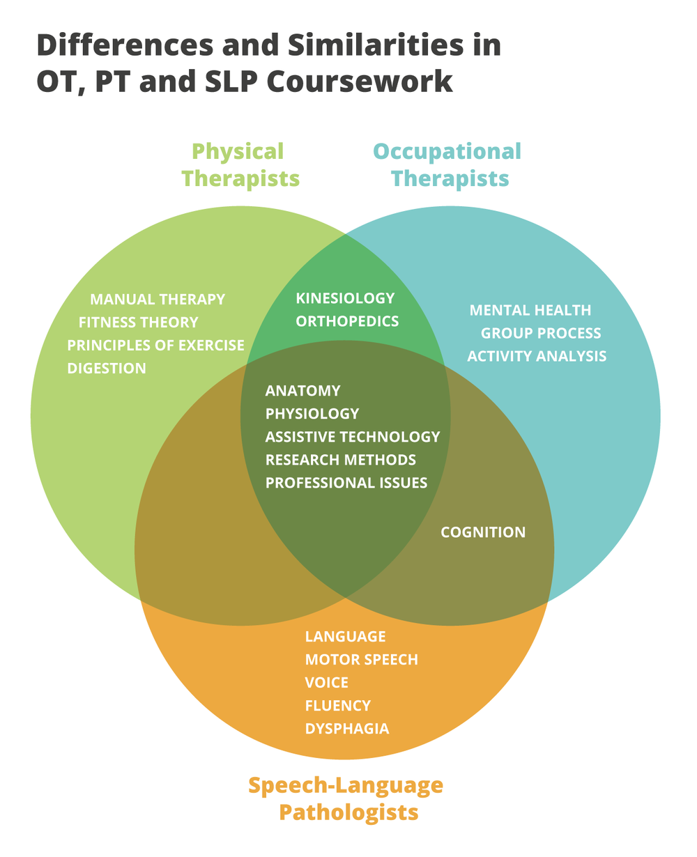 This infographic highlights the similarities and differences in the coursework between and OT, PT and SLP degree.