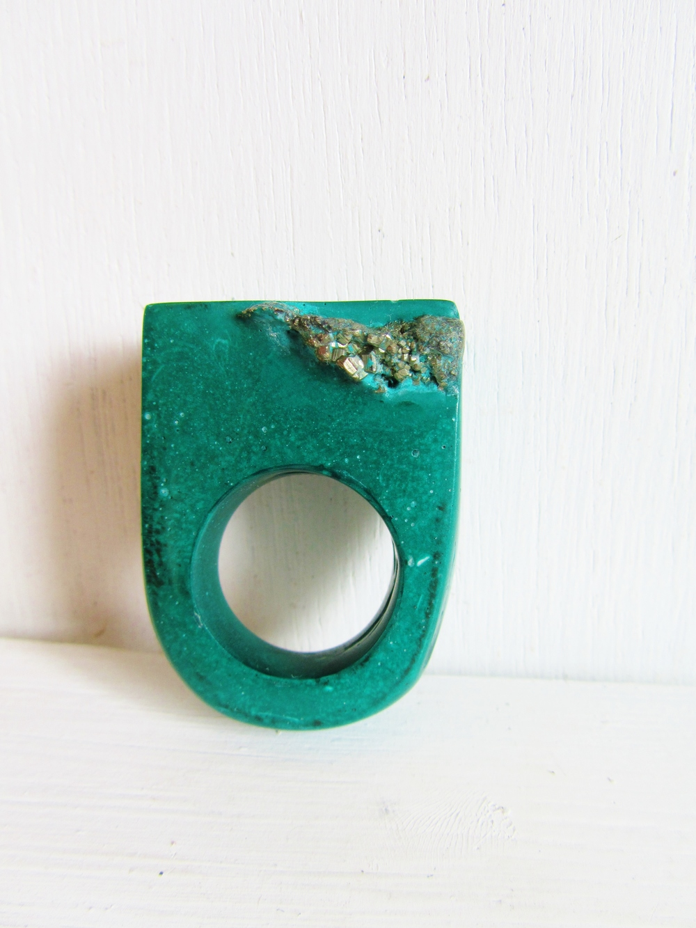New green Hewn ring with pyrite nugget available to purchase in the exhibition.