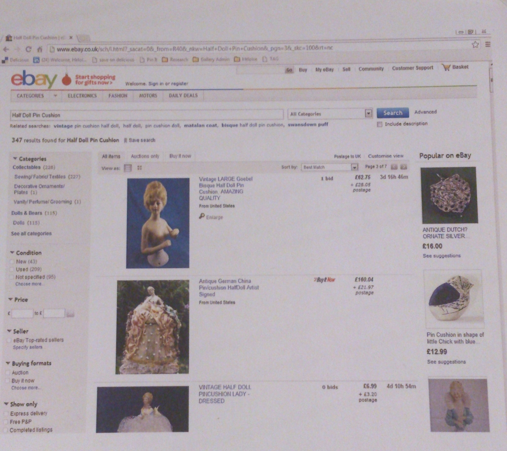 Printed listings from the auction sites where Maria Militsi sources her objects