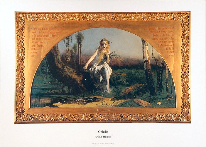 "Ophelia, Arthur Hughes part of ""The Sting of Passion"" exhibition combining Pre-Raphaelite paintings and contemporary jewellery."