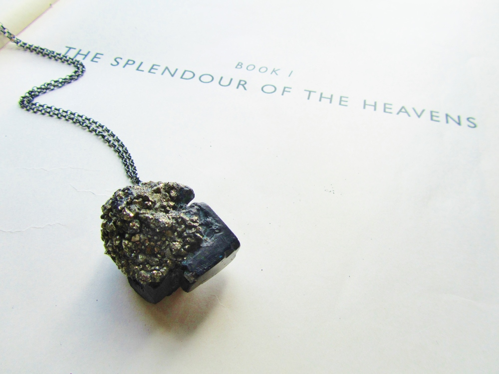 One of my necklaces at the exhibition: Pyrite encrusted cube necklace on oxidised silver chain