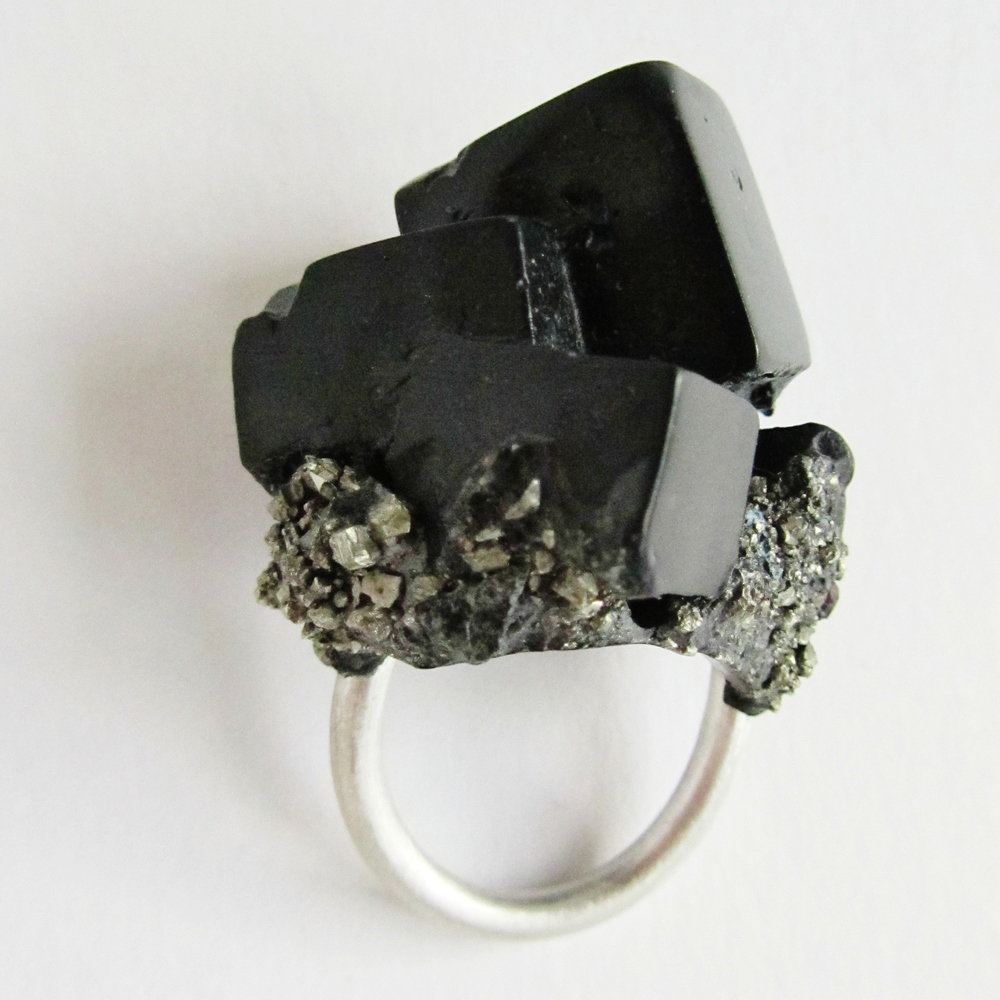 Original Black Cube, Silver, Pyrite ring hand made by Jade Mellor