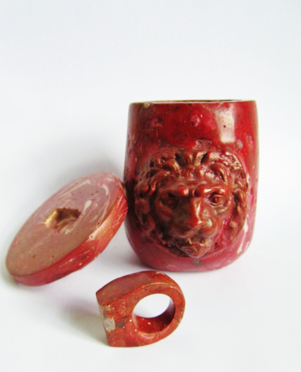 jade mellor bespoke pieces lion pyxis pot red ring.JPG