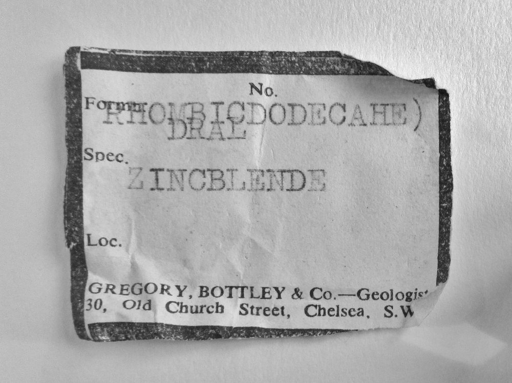 I found this label on a mineral specimen I was checking out in Manchester museum in the pic below.