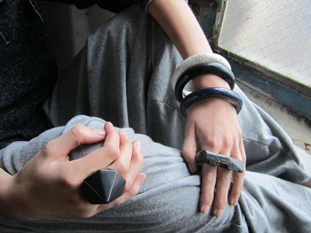 jade mellor bangles black hedron ring double ring worn.JPG
